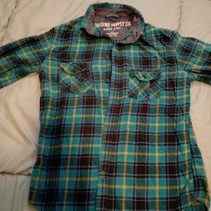 Soft Lightweight Plaid Long Sleeve Shirt Size S